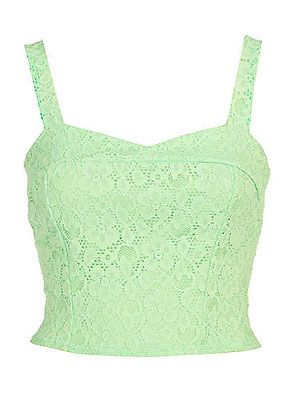 "<p>OK girls, it'd time to get your head around flashing a bit of flesh in the midriff area as bralets are having a moment. Wear with a high-waisted pencil skirt and a blazer over the top to spare your modesty whilst earning full fashion points.</p> <p><br />Green lace bralet, £18, <a title=""River Island"" href=""http://www.riverisland.com/Online/women/tops/going-out-tops/light-green-lace-cross-back-bralet-620042"" target=""_blank"">River Island</a></p>"