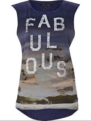 "<p>The ultimate festival top! This vest will look amazing paired with denim cut-offs or over leggings and is perfect for the summer season<br /> <br />Fabulous top, £15, <a title=""http://www.riverisland.com/Online/women/t-shirts--vests--sweats/vests/navy-print-fashion-target-breast-cancer-tank-619081"" href=""http://www.riverisland.com/Online/women/t-shirts--vests--sweats/vests/navy-print-fashion-target-breast-cancer-tank-619081"" target=""_blank"">River Island</a><br /><br /></p>"