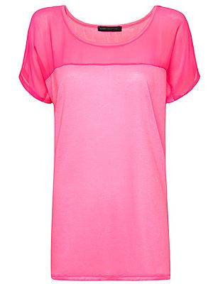 "<p>Jazz up your jeans with a statement T-shirt in an eye-catching fluro shade. The sheer panel neckline gives this top a designer edge, for a high street price. Glo-sticks optional.<br /><br />Sheer panel T-shirt, £17.99, <a title=""Mango"" href=""http://shop.mango.com/GB1/p0/mango/new/sheer-panel-t-shirt/?id=63208741_RF&n=1&s=nuevo&c=0&ie=0&m="" target=""_blank"">Mango</a></p>"