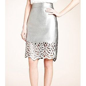 "<p>Oh, this skirt it too beautiful! We die, M&S - WE DIE! Made from buttery soft silver leather with gorge cut-out detail, this skirt will see you through summer and beyond.<br /><br />Leather cutwork skirt, £149, <a title=""M&S"" href=""http://www.marksandspencer.com/Autograph-Leather-Cutwork-Skirt/dp/B002SGAKB8"" target=""_blank"">M&S</a></p>"