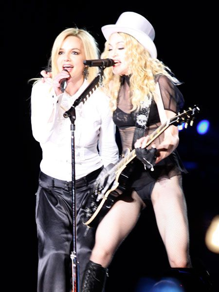 We could barely contain our excitement when we saw both Britney and Justin (albeit at different times) up on stage with the Queen of Pop during her Sticky and Sweet Tour. Brit and Madge opened the show to an hysterical crowd in LA to perform Human Nature.<br />