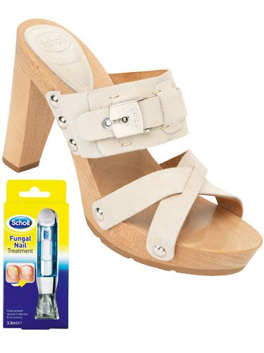 <p> Make like you're in Miami in these super-sexy strappy mules<br/>  Scholl Miami, £90 </p><p> In summer's strappy styles there's nowhere for your feet to hide, so if you're suffering from unsightly fungal nail infection add <strong>Scholl Fungal Nail Treatment</strong> to your footcare routine and show off your toes with confidence.</p> <p>  <strong>Lauren, 40, from London</strong><br/> 'My toenails are yellow and brittle which I hate. For the past four weeks, I've been using Scholl Fungal Nail Treatment - filing my nails once a week and painting with the liquid every day. Already they are looking healthier and my confidence is growing. I will carry on with the liquid until the discoloured nails have grown out. ' </p>