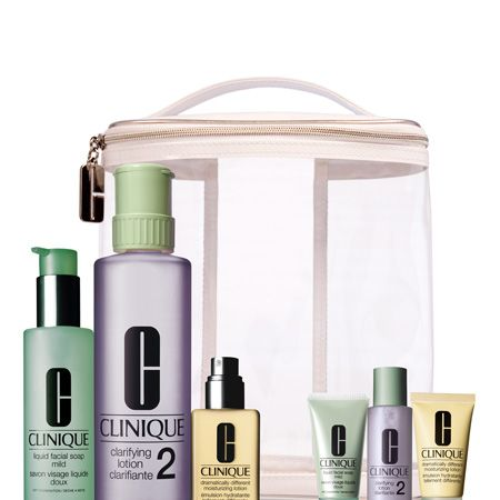 """<p>Treat the travelling beauty babe to this skincare set.  She'll never be without her fave face-care products as this collection contains big bottles for the bathroom shelf and baby bottles to cram in her case. Each set contains large and miniature bottles of custom fit 3 Step: Liquid Facial Soap, Clarifying Lotion, Dramatically Different Moisturising Lotion and a travel case.<br /><br />Get it now at <a target=""""_blank"""" href=""""http://www.clinque.co.uk"""">www.clinque.co.uk</a><br /><br />  </p>"""