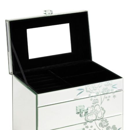 "Girlie girls will love stashing their gems and jewels away in this gorgeous glass box from <a target=""_blank"" href=""http://www.thepier.co.uk"">www.thepier.co.uk</a>. It's dressing table dynamite, or she can leave it to sparkle on her shelves. The super-soft interior will protect her precious stones and the two drawers are the ideal for the new jewellery she's getting this xmas...  <br />"