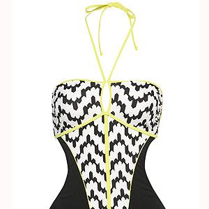 """<p>Here's some swimwear that won't scare you. In fact, it made us go, 'zig-a-zag-ahhh!' In flattering black and white with a zingy fluro trim, this one piece is a holiday must-have.<br /><br />Zig-zag one piece, £35, <a title=""""http://www.topshop.com/webapp/wcs/stores/servlet/ProductDisplay?beginIndex=0&viewAllFlag=&catalogId=33057&storeId=12556&productId=5852446&langId=-1&sort_field=Relevance&categoryId=277012&parent_categoryId=208491&pageSize=200"""" href=""""http://www.topshop.com/webapp/wcs/stores/servlet/ProductDisplay?beginIndex=0&viewAllFlag=&catalogId=33057&storeId=12556&productId=5852446&langId=-1&sort_field=Relevance&categoryId=277012&parent_categoryId=208491&pageSize=200"""" target=""""_blank"""">Topshop</a><br /><br /></p>"""