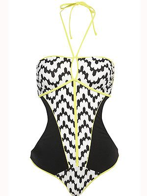 "<p>Here's some swimwear that won't scare you. In fact, it made us go, 'zig-a-zag-ahhh!' In flattering black and white with a zingy fluro trim, this one piece is a holiday must-have.<br /><br />Zig-zag one piece, £35, <a title=""http://www.topshop.com/webapp/wcs/stores/servlet/ProductDisplay?beginIndex=0&viewAllFlag=&catalogId=33057&storeId=12556&productId=5852446&langId=-1&sort_field=Relevance&categoryId=277012&parent_categoryId=208491&pageSize=200"" href=""http://www.topshop.com/webapp/wcs/stores/servlet/ProductDisplay?beginIndex=0&viewAllFlag=&catalogId=33057&storeId=12556&productId=5852446&langId=-1&sort_field=Relevance&categoryId=277012&parent_categoryId=208491&pageSize=200"" target=""_blank"">Topshop</a><br /><br /></p>"