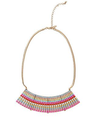"<p>This necklace will brighten up the dullest of outfits with these array of colours and shimmering gold!</p> <p>Multi coloured necklace, £17.99, <a title=""http://www.zara.com/webapp/wcs/stores/servlet/product/uk/en/zara-S2012/199002/825120/STRAND%2BNECKLACE%2BIN%2BSHINY%2BGOLDEN%2BCOLOURS "" href=""http://www.zara.com/webapp/wcs/stores/servlet/product/uk/en/zara-S2012/199002/825120/STRAND%2BNECKLACE%2BIN%2BSHINY%2BGOLDEN%2BCOLOURS%20"" target=""_blank"">Zara  </a>                              </p>"