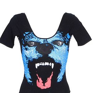 """<p>This cool brand produces fun graphic vests, bodies and tees - we love this roaring She Wolf body - inspired by Shakira's famous anthem, perhaps? make like Rihanna and wear with denim cut-offs and plenty of gehtto girl 'tood.</p><p>Wolf body, £39.95, <a title=""""http://www.electrictees.co.uk/products/wolf-body"""" href=""""http://www.electrictees.co.uk/products/wolf-body"""" target=""""_blank"""">Electric Tess</a><br /><br /></p>"""