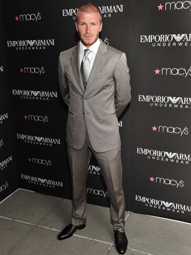David was looking gorge in this grey suit for the unveiling his ad for Emporio Armani in San Francisco in June  2008