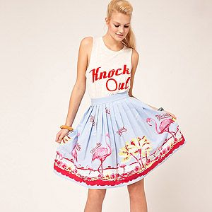 """<p>Flirt with flamingo fashion in this swishy retro-inspired fit and flare skirt from Asos.</p><p>Full Skirt in Flamingo Print, £26.50, <a title=""""Asos.com"""" href=""""http://www.asos.com/ASOS/ASOS-Full-Skirt-in-Flamingo-Print/Prod/pgeproduct.aspx?iid=2095717&SearchQuery=flamingo&Rf-700=1000&sh=0&pge=0&pgesize=-1&sort=-1&clr=Print%20"""" target=""""_blank"""">Asos</a></p>"""