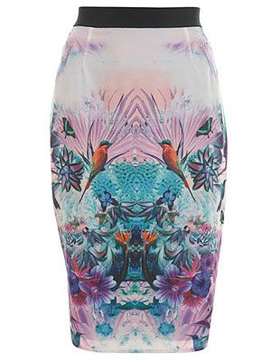 "<p>This bird print pencil skirt is the perfect day-to-evening wear. Pair with a simple white tee and ballet pumps for a sophisticated day look, then swap the pumps for some killer heels to dance the night away.</p> <p>Bird pencil skirt, £46, <a title=""Miss Selfridge"" href=""http://www.missselfridge.com/webapp/wcs/stores/servlet/ProductDisplay?beginIndex=0&viewAllFlag=&catalogId=33055&storeId=12554&productId=5818492&langId=-1&sort_field=Relevance&categoryId=208023&parent_categoryId=208022&pageSize=200"" target=""_blank"">Miss Selfridge</a></p>"