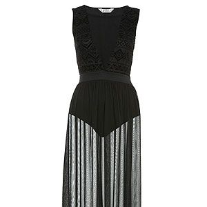 <p>The celebs love a sheer maxi dress and we're tempted to pick up this black one. We like the aztec print detail on the bodice and the sheer skirt is the perfect length. Team up with neon heels for a colour injection.</p>