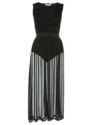 "<p>The celebs love a sheer maxi dress and we're tempted to pick up this black one. We like the aztec print detail on the bodice and the sheer skirt is the perfect length. Team up with neon heels for a colour injection.</p> <p>Petites flock burnout maxi, £45, <a title=""Miss Selfridge"" href=""http://www.missselfridge.com/webapp/wcs/stores/servlet/ProductDisplay?beginIndex=0&viewAllFlag=&catalogId=33055&storeId=12554&productId=5704149&langId=-1&sort_field=Relevance&categoryId=208023&parent_categoryId=208022&pageSize=200"" target=""_blank"">Miss Selfridge</a></p>"