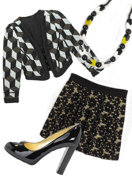 """Jacket, £325, <a target=""""_blank"""" href=""""http://www.emaharishi.com/"""">Maharishi</a>; skirt, £198, <a target=""""_blank"""" href=""""http://www.jigsaw-online.com/"""">Jigsaw</a>; Shoes, £203, <a target=""""_blank"""" href=""""http://www.juicycouture.com/"""">Juicy Couture</a>; necklace, £49, <a target=""""_blank"""" href=""""http://www.jigsaw-online.com/"""">Jigsaw</a><br />"""