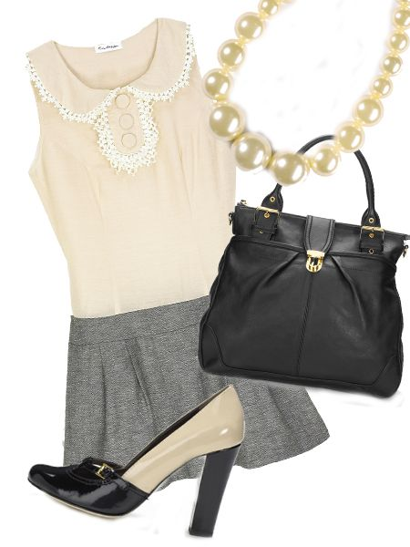 "<p>Think pencil skirts and pretty blouses teamed with a statement bag for 9-5 loveliness. </p><p> </p><p>Left: look 1, shoes, £95, <a target=""_blank"" href=""http://www.frenchconnection.com/"">French Connection</a>; dress, £45, <a target=""_blank"" href=""http://www.missselfridge.com/webapp/wcs/stores/servlet/TopCategoriesDisplay?storeId=12554&catalogId=20555"">Miss Selfridge</a>; bag, £200, <a target=""_blank"" href=""http://www.frenchconnection.com/"">French Connection</a>; necklace, £18, Freedom at <a target=""_blank"" href=""http://www.topshop.com/webapp/wcs/stores/servlet/TopCategoriesDisplay?storeId=12556&catalogId=19551"">Topshop </a></p>"