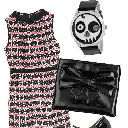 "Dress, £280, Milly at <a target=""_blank"" href=""http://www.harrods.com/harrodsstore/"">Harrods</a>&#x3B; clutch, £55, by Berman at <a target=""_blank"" href=""http://www.asos.com/"">Asos</a>&#x3B; watch, £180, Marc by <a target=""_blank"" href=""http://www.marcjacobs.com/"">Marc Jacobs</a>&#x3B; shoes, £125, <a target=""_blank"" href=""http://www.jigsaw-online.com/"">Jigsaw</a>"
