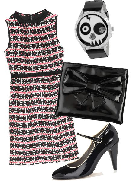 "Dress, £280, Milly at <a target=""_blank"" href=""http://www.harrods.com/harrodsstore/"">Harrods</a>; clutch, £55, by Berman at <a target=""_blank"" href=""http://www.asos.com/"">Asos</a>; watch, £180, Marc by <a target=""_blank"" href=""http://www.marcjacobs.com/"">Marc Jacobs</a>; shoes, £125, <a target=""_blank"" href=""http://www.jigsaw-online.com/"">Jigsaw</a>"