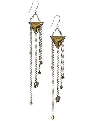 "<p>If run-of-the-mill chadelier earrings are too girly for you, prepare to hang tough with this edgy pair from Eastern Mystic, featuring chains, triangles and skulls. Gothic glam at it's finest.<br />Deco skull chadleier earrings, £98, <a title=""http://www.easternmystic.com/Earrings/c67/p228/Deco-Skull-Chandelier-Earrings/product_info.html"" href=""http://www.easternmystic.com/Earrings/c67/p228/Deco-Skull-Chandelier-Earrings/product_info.html"" target=""_blank"">Eastern Mystic</a><br /><br /></p>"