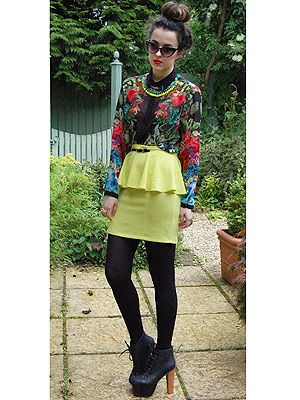 """<p>Everyday is dress-up day for Arabella from Bloxham! Her eccentric style is captured here in the form of fabulous florals, attention grabbing neons and a so-on-trend peplum. VO5 love the ballet inspired top knot which showcases Arabella's caramel highlights perfectly.</p> <p>CLICK <a title=""""Cosmo and VO5 Style Search"""" href=""""Visit%20cosmopolitan.co.uk/cosmoV05style"""" target=""""_blank"""">HERE</a> TO ENTER THE COSMO & VO5 STYLE SEARCH NOW!</p>"""