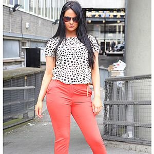 <p>Demi from Stockton-on-Tee creates a smart but sassy look with her monochrome blouse, high-waist coral trousers and obligatory towering heels. VO5 salutes her frizz-free luscious dark locks, the ultimate accompaniment to such sleek style.</p>