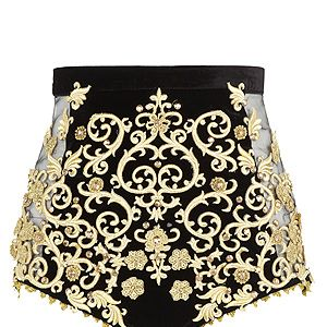 <p>River Island is right up there in our best of British brands and though it might be a little inappropriate to walk through Buckingham Palace in hotpants, we can't get enough of the gold detailing on these shorts!</p> <p>Embellished shorts, £30, River Island</p>