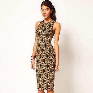 <p>Sound the style steal klaxon! We love this ritzy-glitzy dress from Asos. The demure knee length combined with sexy cut away back make it super versatile for day or night - ideal for party season!</p>