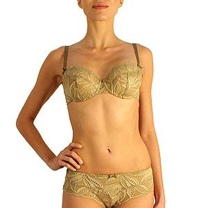 """<p>Get voluptuous and gorgeous in this classic French underwired bra, super for curvy ladies and super sophisticated with overlaid embroidered lace. Pair with matching high waist briefs for that ooh la la appeal.</p><p>Barbara Kentia classic underwired <a href=""""http://lemoncurve.com/lingerie/538-soutien-gorge-tulipe-bronze-kentia-barbara.html"""">bra</a> £45, and Kentia <a href=""""http://lemoncurve.com/lingerie/539-shorty-bronze-kentia-barbara.html"""">shorty</a>, £32, Lemoncurve.com</p>"""