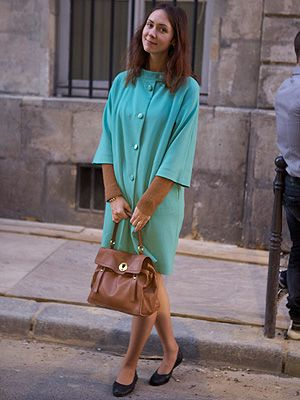 <p><em>Student</em></p> <p>We loved the turquoise wool Zara jacket Masha wore at Paris Fashion Week. It was a great contrast with her camel-coloured sweater from Bompard, and there's no better way to finish off a look than with a matching YSL bag.</p>