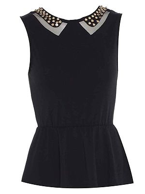 "<p>Hello stud! This is more stylish than your average peplum top, thanks to the cute cut-out and studded collar detail. We'd rock this up with black skinny jeans and studded boots - and give Kate Moss a run for her rock chick money!</p> <p>Studded peplum top, £20, <a title=""AX Paris"" href=""http://www.axparis.co.uk/products/Studded-Peplum-Top.html%20"" target=""_blank"">AX Paris </a></p>"