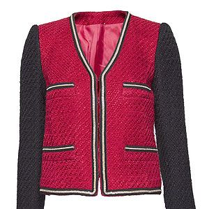 """<p>Sound the style steal klaxon! For less than £30 this cute boucle jacket is a thrifty way to channel a Chanel inspired look. Just add ballet flats and red lips to ooze French chic for cheaps.</p><p>Chain trimmed boucle jacket, £29.99, <a href=""""http://shop.mango.com/GB/p0/mango/new/chain-trimmed-boucle-jacket/?id=71903357_XB"""">Mango </a></p>"""
