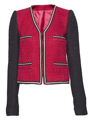 """<p>Sound the style steal klaxon! For less than £30 this cute boucle jacket is a thrifty way to channel a Chanel inspired look. Just add ballet flats and red lips to ooze French chic for cheaps.</p> <p>Chain trimmed boucle jacket, £29.99, <a href=""""http://shop.mango.com/GB/p0/mango/new/chain-trimmed-boucle-jacket/?id=71903357_XB"""">Mango </a></p>"""