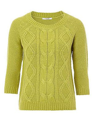 """<p>This zingy knit is perfect for teaming with a chunky statement necklace - the ultimate way to wear your sweaters this season. Love.</p> <p>Cable knit jumper, £8, <a href=""""http://direct.asda.com/george/womens-knitwear/cable-knit-jumper-lime/GEM264638,default,pd.html"""">Asda </a></p>"""