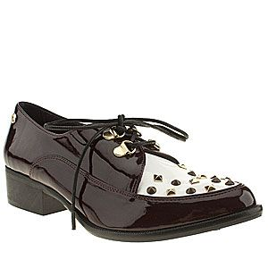 """<p>'Peace Out' patent shoes, £70, Red or Dead at <a href=""""http://www.schuh.co.uk/womens-burgundy-red-or-dead-peace-out/1373363240"""" target=""""_blank"""">Schuh</a><br /><br /><br /></p>"""