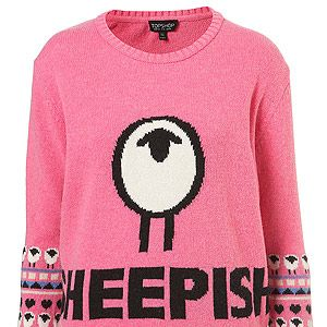"""<p>It's wool week and trust Toppers to come up trumps. They collaborated with Kingston University to find a star knitwear student to create two unique designs - including this one. It's baaaah-rilliant!</p><p>Knitted sheepish motif jumper, £48, <a title=""""http://www.topshop.com/webapp/wcs/stores/servlet/ProductDisplay?beginIndex=0&viewAllFlag=&catalogId=33057&storeId=12556&productId=7603246&langId=-1&categoryId=&searchTerm=wool%20week&pageSize=20"""" href=""""http://www.topshop.com/webapp/wcs/stores/servlet/ProductDisplay?beginIndex=0&viewAllFlag=&catalogId=33057&storeId=12556&productId=7603246&langId=-1&categoryId=&searchTerm=wool%20week&pageSize=20"""" target=""""_blank"""">Topshop</a><br /><br /></p>"""