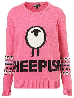 "<p>It's wool week and trust Toppers to come up trumps. They collaborated with Kingston University to find a star knitwear student to create two unique designs - including this one. It's baaaah-rilliant!</p> <p>Knitted sheepish motif jumper, £48, <a title=""http://www.topshop.com/webapp/wcs/stores/servlet/ProductDisplay?beginIndex=0&viewAllFlag=&catalogId=33057&storeId=12556&productId=7603246&langId=-1&categoryId=&searchTerm=wool%20week&pageSize=20"" href=""http://www.topshop.com/webapp/wcs/stores/servlet/ProductDisplay?beginIndex=0&viewAllFlag=&catalogId=33057&storeId=12556&productId=7603246&langId=-1&categoryId=&searchTerm=wool%20week&pageSize=20"" target=""_blank"">Topshop</a><br /><br /></p>"