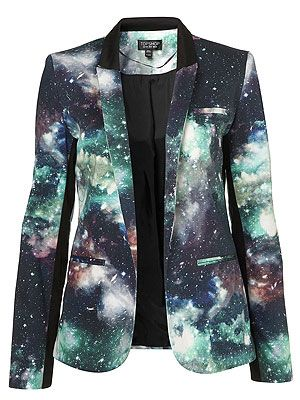 "<p>Intergalactic! Planetary! Planetary! Intergalactic! Do a spot of star gazing the stylish way with this uhh-mazing printed blazer from Toppers. Who knew smart tailoring could be so fun?</p> <p>Galactic Blazer, £68, <a title=""http://www.topshop.com/webapp/wcs/stores/servlet/ProductDisplay?beginIndex=1&viewAllFlag=&catalogId=33057&storeId=12556&productId=8079782&langId=-1&sort_field=Relevance&categoryId=277012&parent_categoryId=208491&pageSize=200&siteID=TnL5HPStwNw-dxbO6M2r1cahX_IO_YIu2A "" href=""http://www.topshop.com/webapp/wcs/stores/servlet/ProductDisplay?beginIndex=1&viewAllFlag=&catalogId=33057&storeId=12556&productId=8079782&langId=-1&sort_field=Relevance&categoryId=277012&parent_categoryId=208491&pageSize=200&siteID=TnL5HPStwNw-dxbO6M2r1cahX_IO_YIu2A%20"" target=""_blank"">Topshop</a><br /><br /></p>"