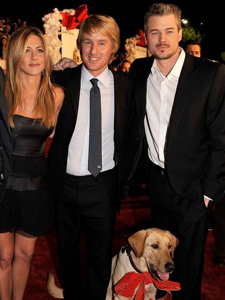 With his <em>Marley & Me</em> co-stars, Jennifer Aniston and Owen Wilson, Eric smoulders for the paps on the red rug. Is he Hollywood's newest hottie?  <br />