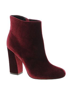 "<p>Tick off two fashion trends on one - velvet and oxblood red - in these decadent ankle boots.</p> <p>APOLLO velvet ankle boots, £55, <a title=""Asos.com"" href=""http://www.asos.com/ASOS/ASOS-APOLLO-Ankle-Boots/Prod/pgeproduct.aspx?iid=2266447&cid=16122&sh=0&pge=0&pgesize=-1&sort=-1&clr=Oxblood"" target=""_blank"">ASOS</a></p>"