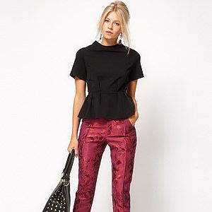 """<p>It's all about the trophy trouser this season, and we love this luxe jacquard pair from ASOS. Get set to baroque and roll!</p><p>Floral jacquard trousers, £45, <a title=""""Asos.com"""" href=""""http://www.asos.com/ASOS/ASOS-Floral-Jacquard-Trousers/Prod/pgeproduct.aspx?iid=2274098&cid=16122&sh=0&pge=0&pgesize=-1&sort=-1&clr=Pink%20"""" target=""""_blank"""">ASOS</a></p>"""