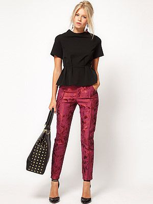 "<p>It's all about the trophy trouser this season, and we love this luxe jacquard pair from ASOS. Get set to baroque and roll!</p> <p>Floral jacquard trousers, £45, <a title=""Asos.com"" href=""http://www.asos.com/ASOS/ASOS-Floral-Jacquard-Trousers/Prod/pgeproduct.aspx?iid=2274098&cid=16122&sh=0&pge=0&pgesize=-1&sort=-1&clr=Pink%20"" target=""_blank"">ASOS</a></p>"