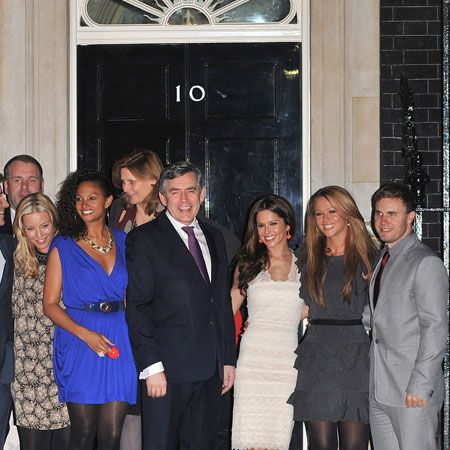 A jubilant Gary Barlow, Fearne Cotton, Ben Shepherd, Ronan Keating, Chris Moyles, Denise Van Outen, Cheryl Cole and Kimberley Walsh arrived at 10 Downing Street to meet PM Gordon Brown after their successful Mount Kilimanjaro climb for Comic Relief. The charitable stars raised over £1m...  <br />