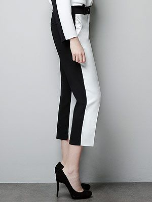 "<p>Are they black? Or white? Answer: They're BOTH. These two-tone trews from Zara are the biz. </p> <p>Two-tone trousers, £39.99, <a title=""http://www.zara.com/webapp/wcs/stores/servlet/product/uk/en/zara-neu-W2012/287002/1049517/TWO-TONE%20TROUSERS"" href=""http://www.zara.com/webapp/wcs/stores/servlet/product/uk/en/zara-neu-W2012/287002/1049517/TWO-TONE%20TROUSERS"" target=""_blank"">Zara</a><br /><br /></p>"