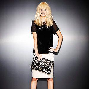 <p>Top, £35, Asos. Skirt, £28, Dorothy Perkins. Boots, £49.99, New Look. Clutch, £32, Miss Selfridge. Necklace, £635.04, Akong at Caratime.com</p>