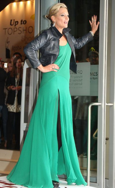 There was excitement about the new Spring/Summer Kate Moss collection and opening of a flagship Topshop store in New York and the supermodel was there for the unveiling in a green split-to-thigh floor-length dress and leather jacket...  <br />