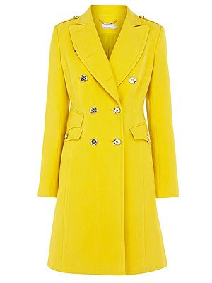 "<p>Beat the January blues with this bright ray of sunshine - yet stay toasty, too. A total traffic stopper if ever we've seen one!</p> <p>Military moleskin coat, £199, <a href=""http://www.karenmillen.com///karenmillen/fcp-product/903000058972"" target=""_blank"">Karen Millen </a></p>"