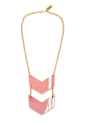 "<p>Add a bit of bling to your everyday look with this glam pink insignia necklace, which sort of points to your chest, which is nice. Showcasing the goods, as it were.</p> <p>Pink Insignia necklace, £30, <a href=""http://www.annalouoflondon.com/productdetails.asp?id=3422&IG=1287%20"" target=""_blank"">Anna Lou of London </a></p>"