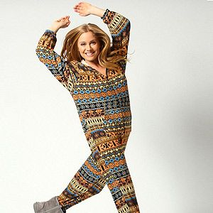 <p>Onesies don't get much trendier than this – bright colours and Aztec print, this one from Boohoo packs a fashion punch.</p>