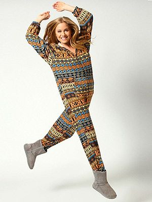 "<p>Onesies don't get much trendier than this – bright colours and Aztec print, this one from Boohoo packs a fashion punch.</p> <p>Nina brushed knit Aztec print hooded onesie, £30, <a href=""http://www.boohoo.com/restofworld/clothing/onesies/icat/onesies/onesies/nina-brushed-knit-aztec-print-hooded-onesie/invt/azz53042"" target=""_blank"">Boohoo.com</a></p>"