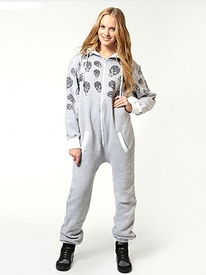 98c995bdb39c  p Go bad-ass with this skull print onesie from Boohoo.