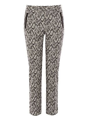 <p>Everyone needs a pair of statement trousers and these are perfect. With their monochrome printed fabric, and flattering style they are the ideal skinny cigarette trouser. </p>